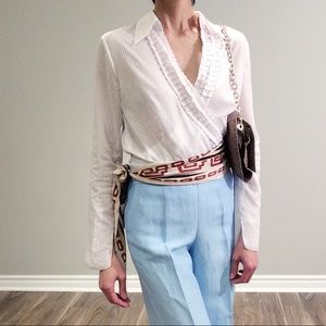 Esprit white wrap shirt with ruffle